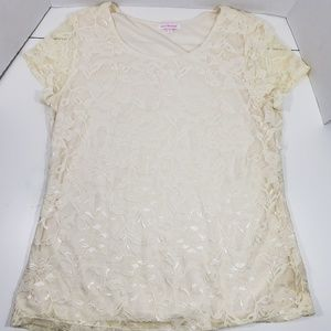 Isaac Mizrahi lace blouse with silky lining